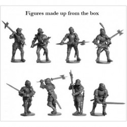 Foot Knights 1450-1500 The box contains 38 multi-part plastic figures.