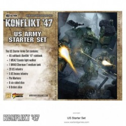 Contains A5 softback Konflikt '47 rulebook ~ 1 M5A2 Coyote light walker ~ 1 M4A9 Sherman-T medium tank ~ 20 US infantry...