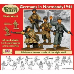 GERMANS IN NORMANDY 1944 figures 68 mixed - SS, luftwaffe & misc types, with support weapons