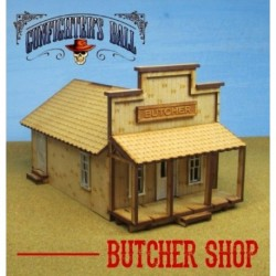 Cowtown Butcher Shop, which includes metal-cast detail parts and lots of space for gaming. An interior wall divides the ...