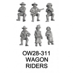 6 passengers for 28mm wagons. Includes a guard with shotgun, two teamsters, a couple in Sunday clothes and a wife or gra...