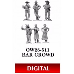 Bar Crowd - A bartender, saloon gal, and four bar patrons. This digital set is a new-and-improved version of the old OW...