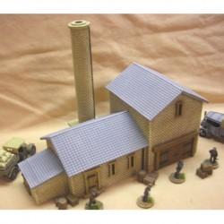 PAINTED Large brick chimney factory type plus base 3 pieces