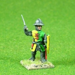 Dismounted Knight with hand weapon and shield. Supplied randomly from 4 variants with assorted Helm options.
